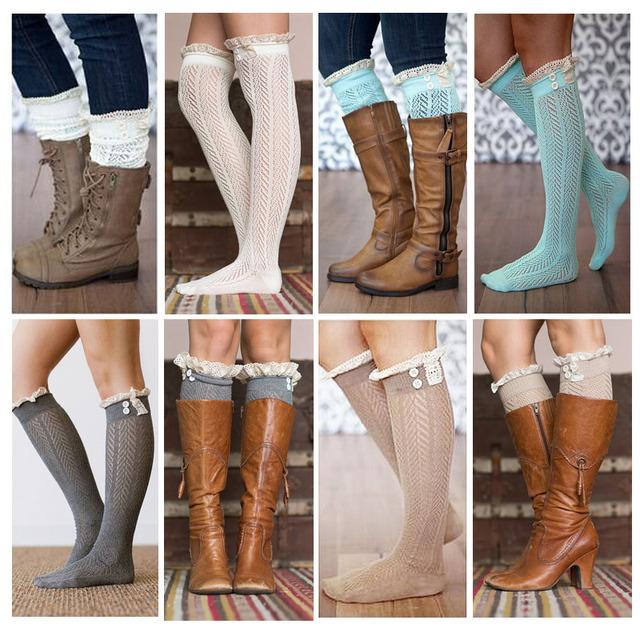 2015 хорошие кружева загрузки носки для женщин хлопка нога-теплее 7 цвет выбрать ...