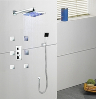Ouboni Thermostatic Faucets Shower Set Hot Sell! Luxury LED Light Head 6 Massage Jets 50023A/3 Spray Body Faucets,Mixers &Taps