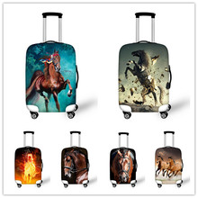 Elastic dustproof travel luggage cover suitcase rain cover animal zoo crazy horse luggage protective covers travel accessories(China (Mainland))