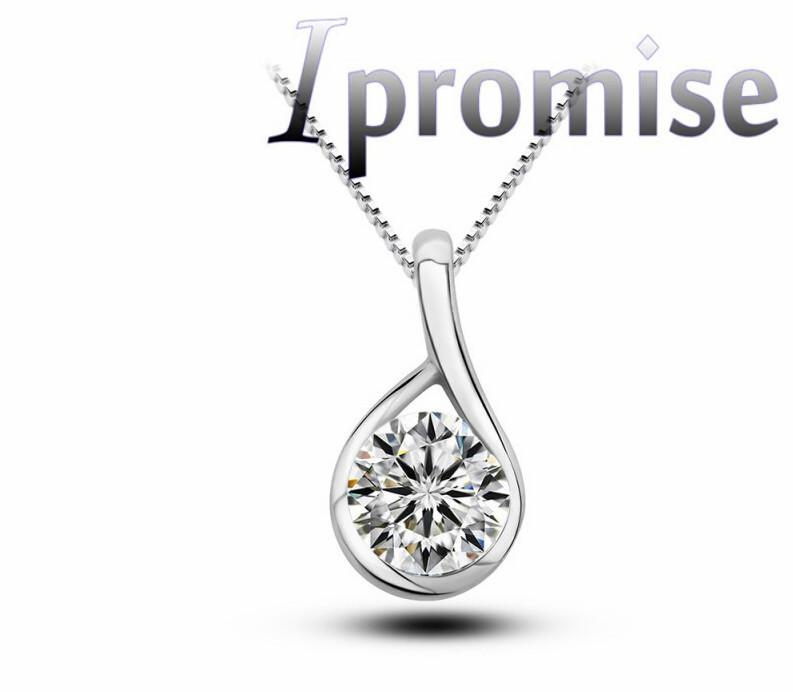 women simple elegant 925 silver Austrian crystal cardamom zircon water drop rhinestone necklace pendant fashion jewelry 1034(China (Mainland))