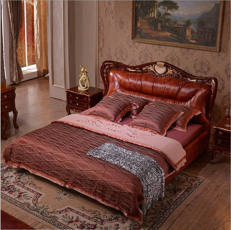 modern european solid wood bed Fashion Carved genuine leather french bedroom furniture 10321(China (Mainland))