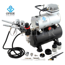 OPHIR Pro 0.3mm 0.5mm 0.8mm 3 Airbrush Kit with Air Tank Compressor for T-shirt Painting Tanning Model Hobby_AC090+004A+071+006(China (Mainland))