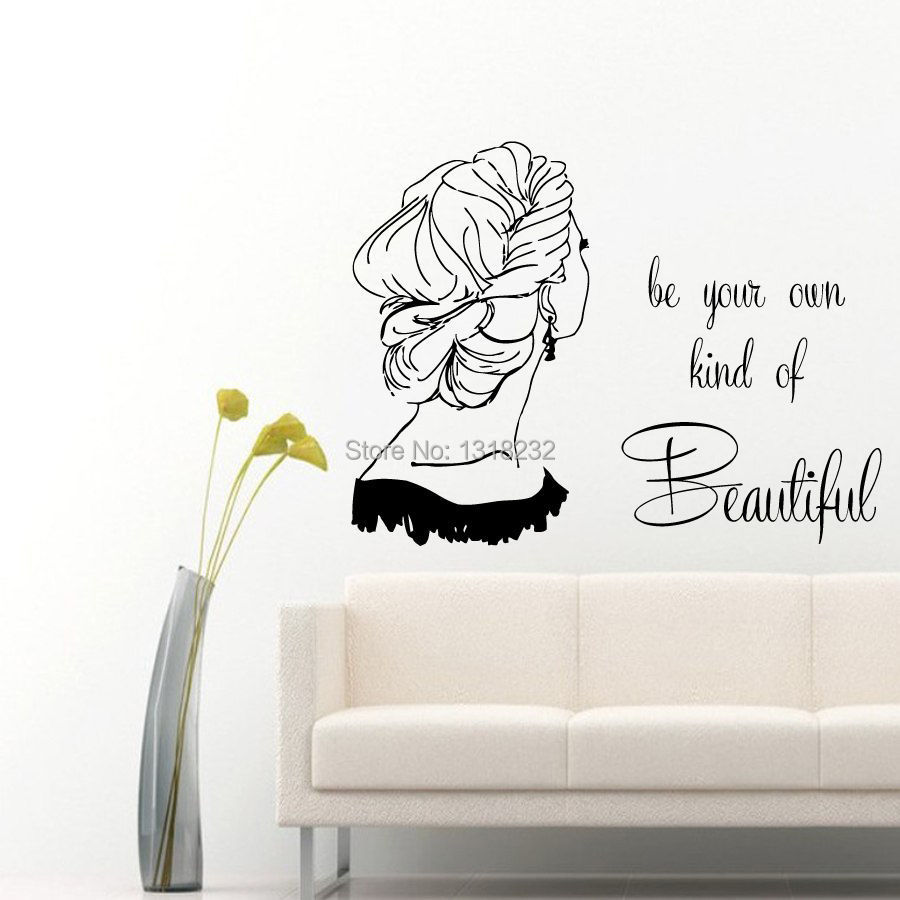 Buy hair salon wall sticker girl quotes for Deco mural stickers