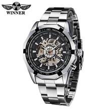 Hot 2016 Winner Luxury Brand Sport Men Automatic Skeleton Watch Mechanical Military Watch Men full Steel Stainless Band relojes(China (Mainland))