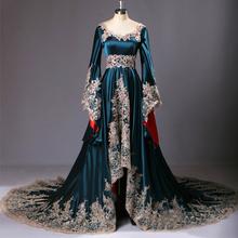 Real Sample 2015 Dubai Kaftan Appliqued Long Evening Gowns Caftan Abaya In Dubai Long Sleeve Arabic Dress Muslim Evening Dress(China (Mainland))