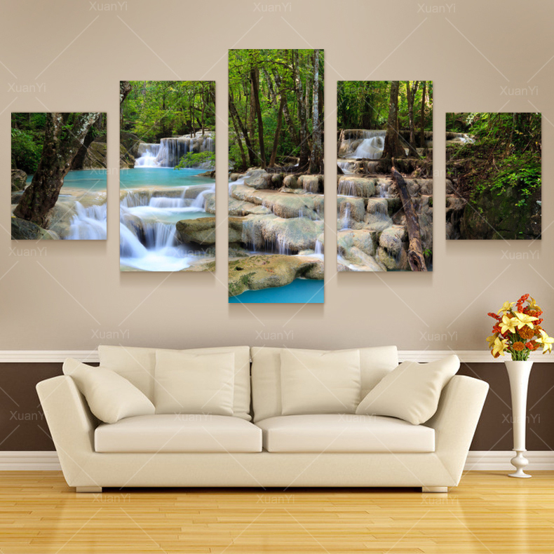 store product Canvas Waterfall Painting Tree Scenery Nature Pictures Cuadros Wall Art Home Decor For Living Room