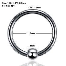 1pc פלדת פירסינג אוזן הרבעה טבעת מגזר האף טבעת שפתיים גבות פירסינג תעשייתי ברבל גוף תכשיטי פירסינג(China)