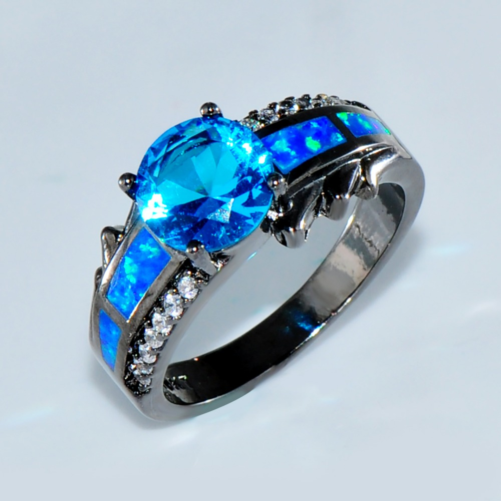 Gallery For Gt Blue Opal Wedding Rings