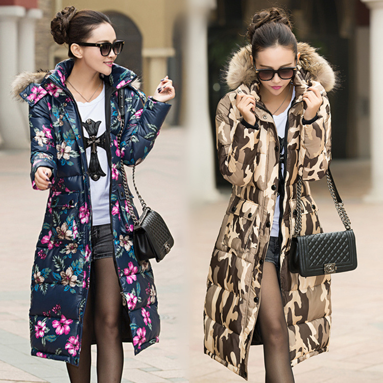 Фотография NEW women Long Winter Clothing Down Cotton-Padded Jacket Female Thickening Of CultivateRaccoon Fur Coat high quality hotsale