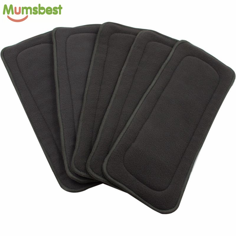 [Mumsbest] 1Pcs Reusable Washable 4Layers Bamboo Charcoal Inserts Boosters Liners For Real Pocket Cloth Nappy Size:35*13.5cm(China (Mainland))