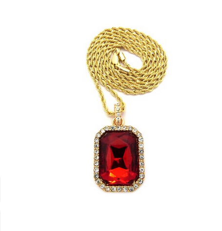 Mens 14k Gold Plated Iced Out Red Ruby Octagon Hip Hop Pendant(China (Mainland))