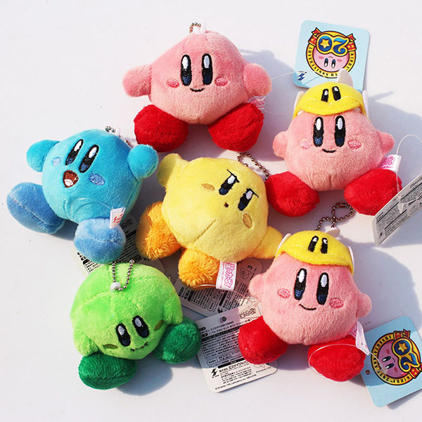 30pcs Kirby Plush Keychains Catoon kirby Plush Doll Toys Pendant 6 styles Free Shipping <br><br>Aliexpress