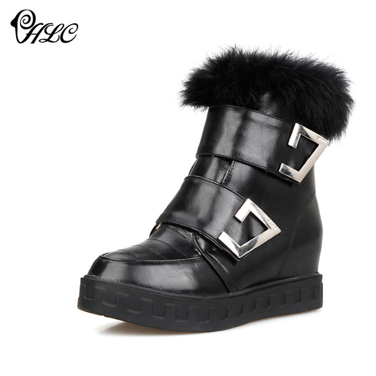 Increased snow boots female hair mouth casual winter 2015 European American fashion models beautiful wild flat tube