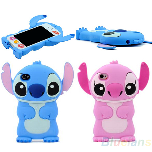 New Arrival Cute Blue Lilo Stitch Die Cut 3D Hard Back Case Cover Skin House For iPhone 4 4G 4S T Free Shipping 1J4W(China (Mainland))