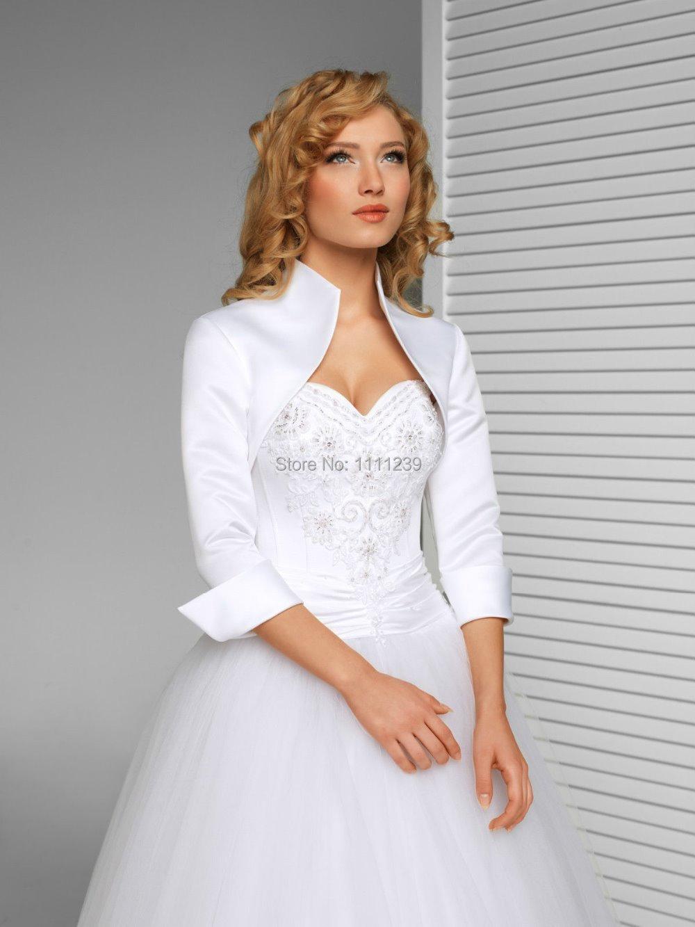New wedding satin shrug bridal bolero jacket coat ds0597 for White bolero for wedding dress