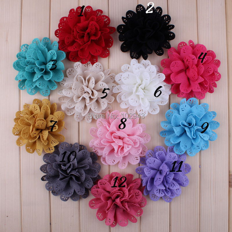 """NEW 2014 Flower 3.5"""" Fabric Flowers DIY Flowers Garment Flowers 12Colors,accessories for hair band/Bow/Clip-48pcs- Free Shipping(China (Mainland))"""