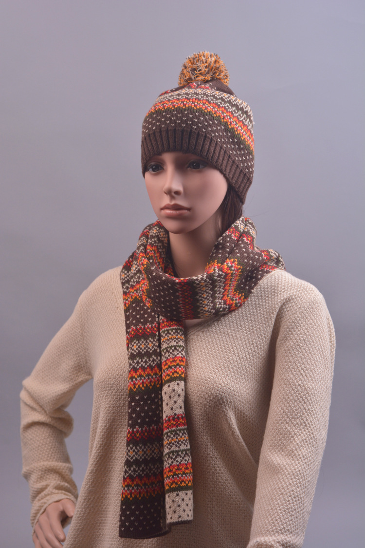 CIVICHIC Fashion Knit Hat Handmade Scarf Jacquard Two Piece Set Winter Warm Neck Headwear Color Mix Chic Thicken Cap Shawl SH106