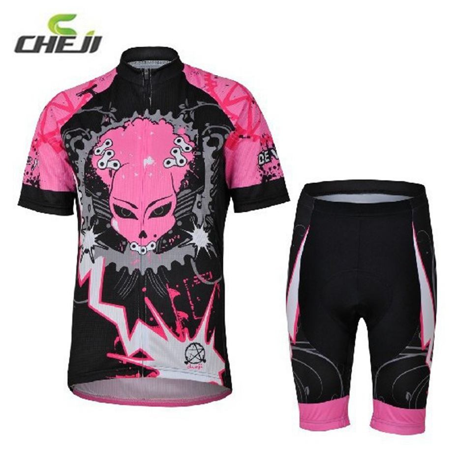 CHEJI Summer Womens Girl Outdoor Sports Pink Cycling Jerseys Bicycle Short Sleeve Tops Sets<br><br>Aliexpress