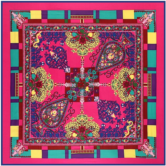 130 см * 130 см 100% шелк евро фирменный стиль мода париж подбора цвета разбирают цветы принт шелковая косынка Femal мода платки