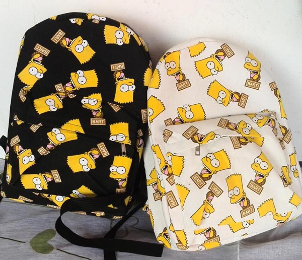 2015 Fashion Bart Simpson men's women Print backpacks canvas students outdoor school shoulder book bags mochilas vintage brand(China (Mainland))