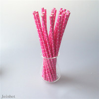 OPP Bags 25pcs/lot Polka Dot Red Paper Drinking Straws Creative Drinking Tubes Birthday Party Baby Shower