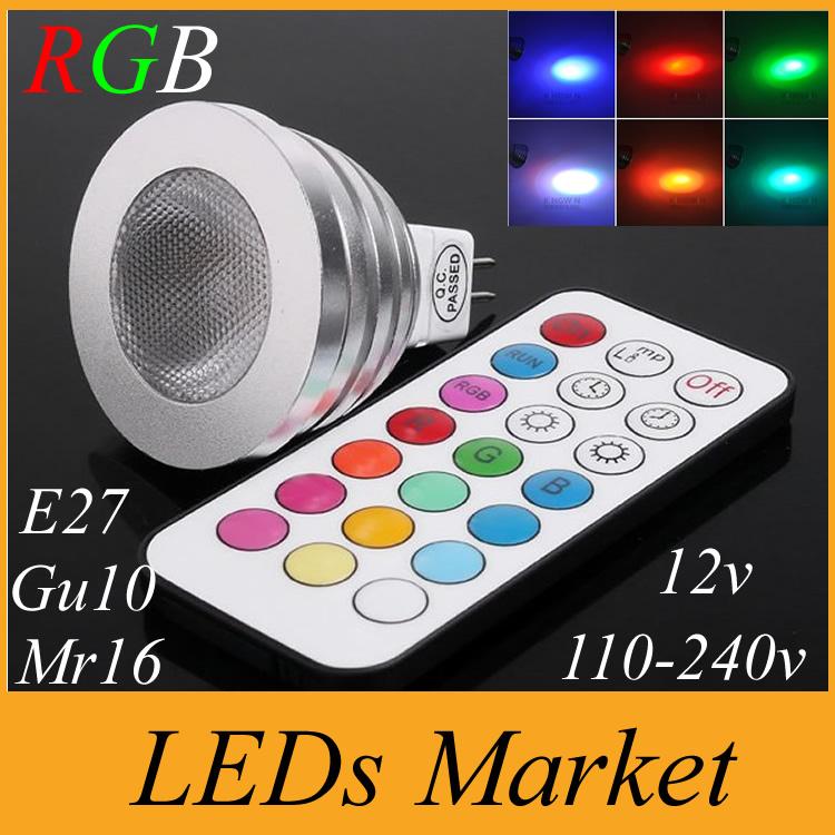 Energy Saving 5W RGB GU10 E27 MR16 E14 LED Bulb Lamp Spot light 16 Colors changing Memory Function Spotlight + IR Remote control(China (Mainland))