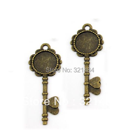 Antique bronze 50pc 20mm (inner size) cameo base, key charm round pendant tray, bezel pendant blanks(China (Mainland))
