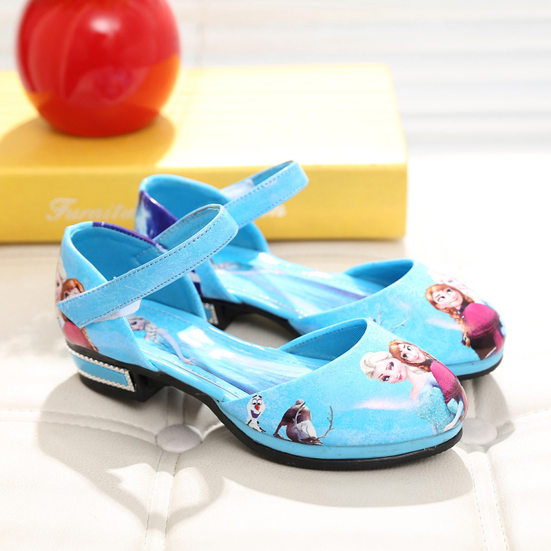 Children Elsa shoes girls blue boat shoes kids Anna princess shoes girls leather Sneakers Cartoon Baby sandals zapatos sapato(China (Mainland))