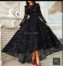 Vestido 2016 Black lace Long A Line Elegant Prom real picture Evening Dress Crew Neck Long Sleeve Lace Hi Lo Evening Gown(China (Mainland))