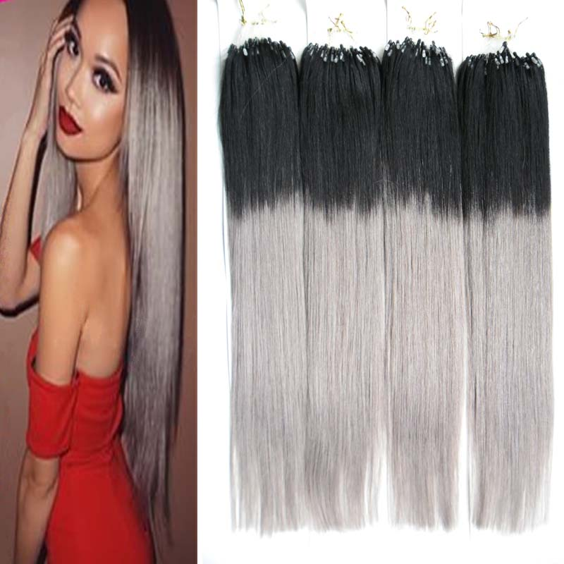 Brazilian Double Drawn Micro Loop Hair Extensions 400g 400s Micro Bead Hair Extensions 1B/Gray Ombre Hair Extensions Micro Loop