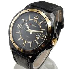 Lujo cuarzo Dial horas día fecha Golden Clock a la moda y Bussiness de cuero de hombre acero inoxidable reloj de pulsera 5UXM