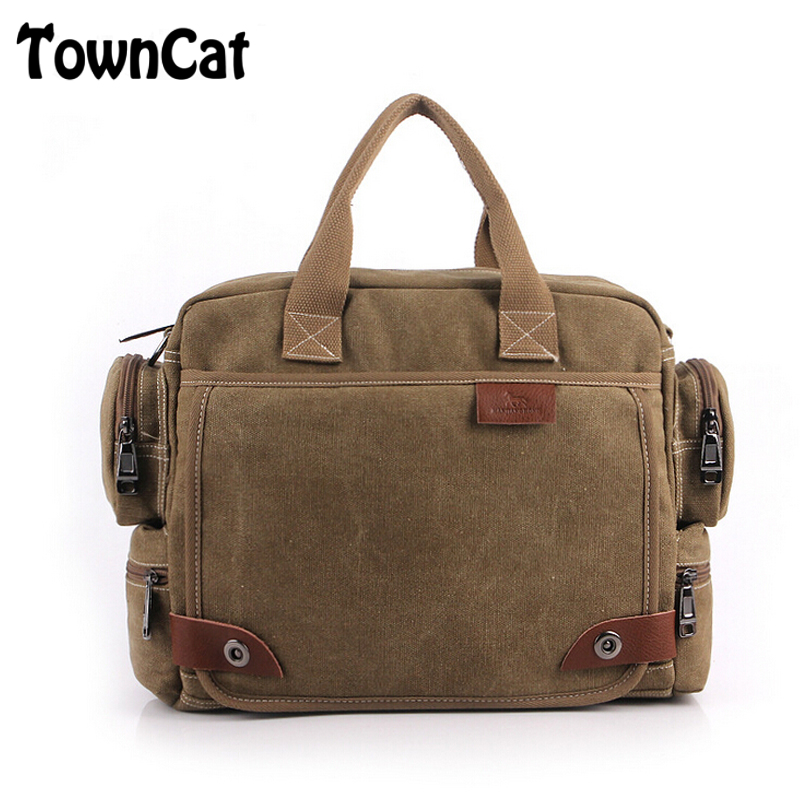 Vintage Retro Canvas Messenger Bag Work & Business Laptop Shoulder Crossbody Satchel Multi-Pocket Book Bag for Men(China (Mainland))