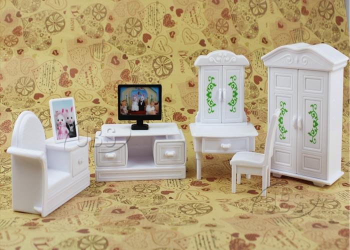 Anime 1_12 Deluxe Kids Baby Toys White Living Room Television Miniture DollHouse Furniture Set for Sylvanian Families Minecraft(China (Mainland))