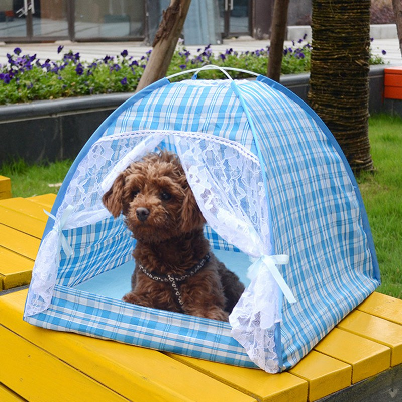 Summer Outdoor Travel Pet Camping Tent Dog Kennel House Kitten Cat Nest Foldable Beds Cute Lace Tent for Small Puppy Dogs(China (Mainland))