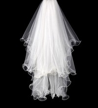 New 2T Handmade Ruched Edge Curl Wedding Veils With Comb Tulle Ivory Puffy Light Elegant Bridal Veil Accessories(China (Mainland))