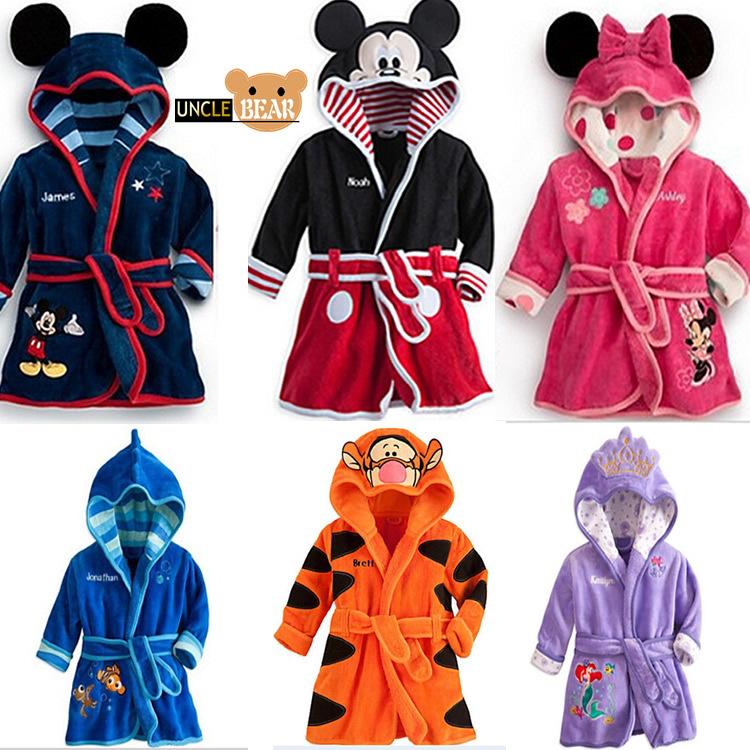 2015 new Children Pajamas Robe Kids clothes boys girls Micky Minnie Bathrobes Baby Cartoon Home Wear