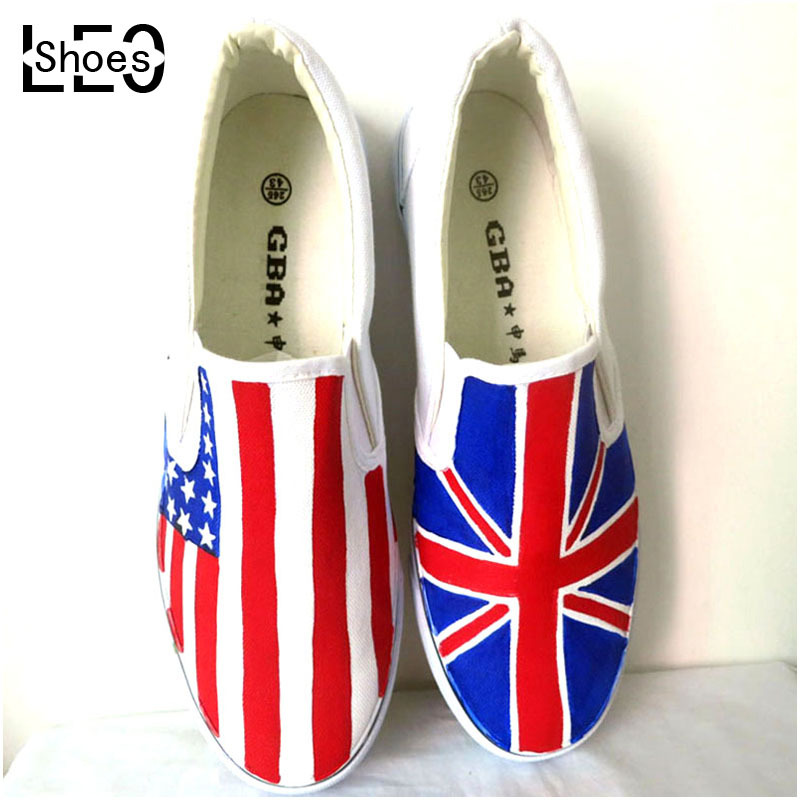 LEO DIY USA Flag Graffiti Canvas Shoes for Men Women Low Top Style Union Jack Shoe Stripes Hand Painted Shoes for Boys Girls(China (Mainland))