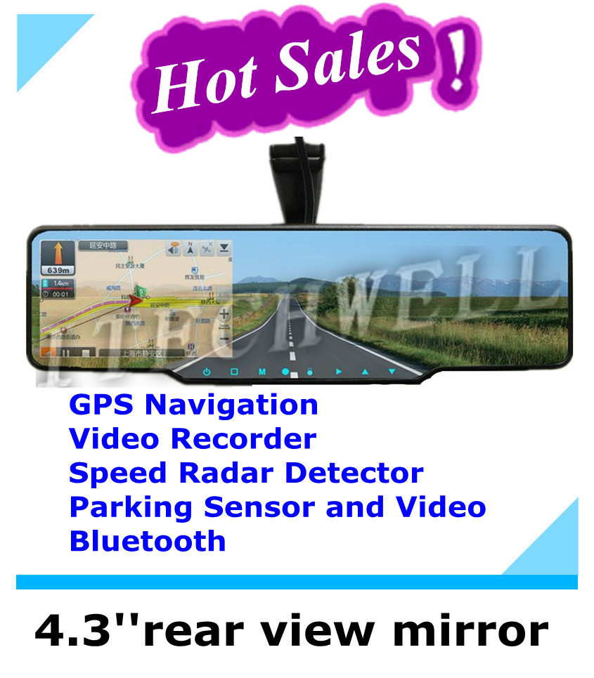 Free Shipping 4.3 inch Car rearview mirror+GPS+Bluetooth+4GB TF Card 480x272(China (Mainland))