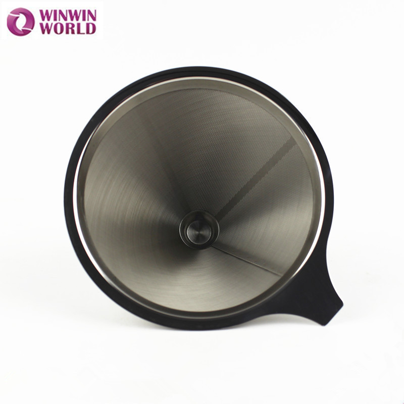 2/4 Cup Stainless Steel Reusable Coffee Filter, Filter Cone,Coffee Filter Baskets, Micro Filter Coffee dripper WW-FE072(China (Mainland))
