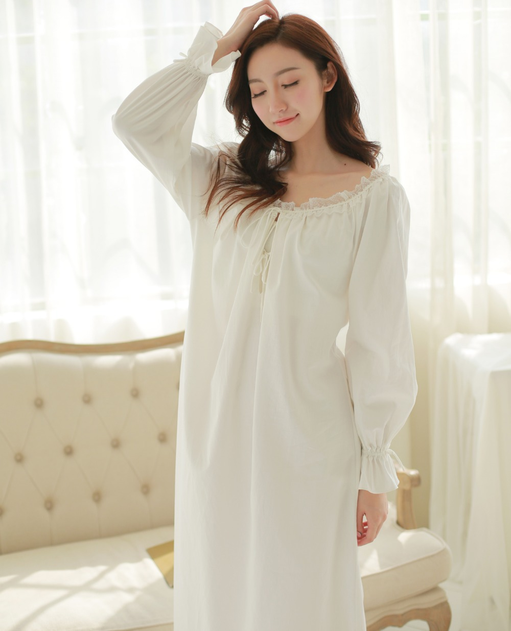 women winter cotton long section nightgown pajamas prince palace nightwear pijamas royal vintage On nightwear winter