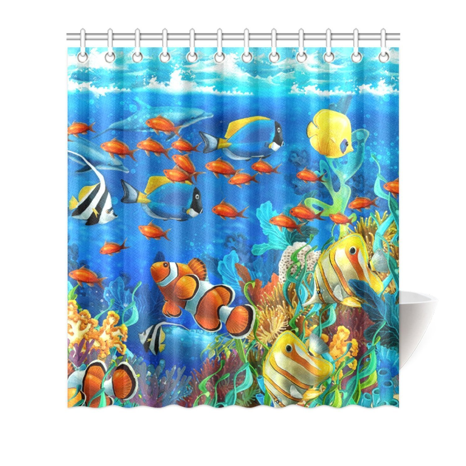Online get cheap tropical fish fabric shower curtain for Tropical fish shower curtain