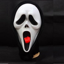 Scary Ghost Face Scream Mask Halloween Party Dress with Hood