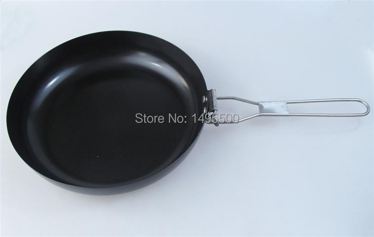 foldable folding handle steel fry pan outdoor camping cooking cookware dinner food(China (Mainland))