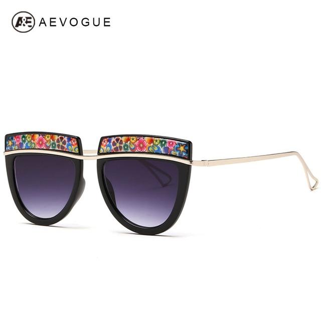 Aevogue новые дизайна бренда солнцезащитные очки женщины горячая распродажа цветы декоративные солнцезащитные очки металлические храм óculos UV400 AE0243