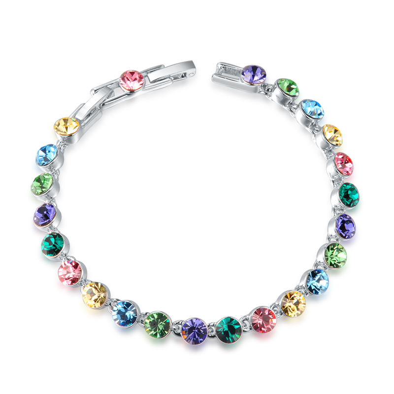 Multicolor Austrian Crystal Bracelet Chain Link Bridesmaid Bride Gifts Women Fashion Bracelets Lady Wedding Jewelry Accessories - MJSZ store Min. Order $ 10 USD