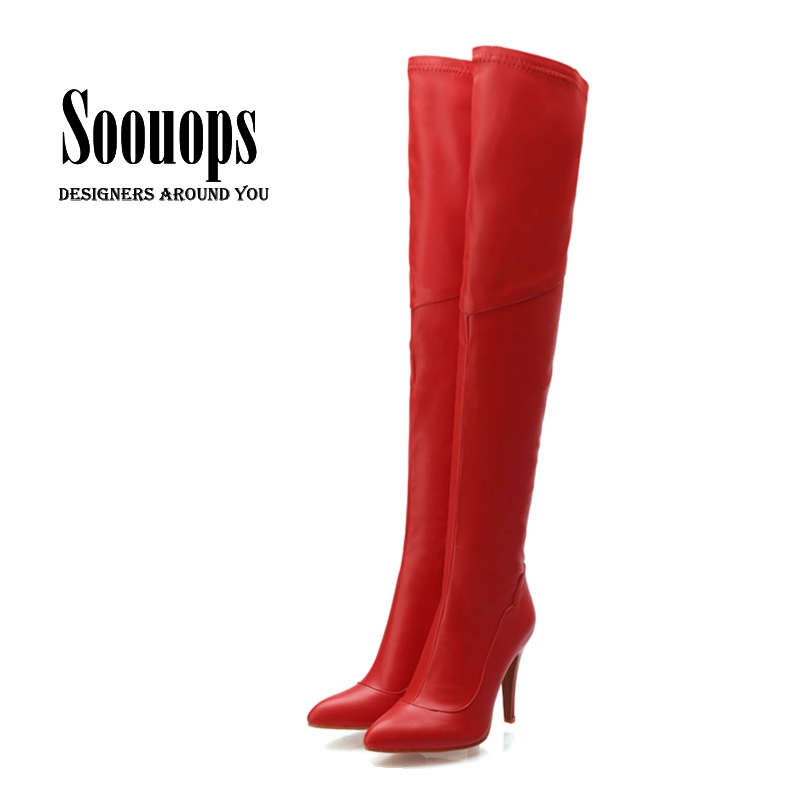 Women's boots autumn and winter fashion women's high-heeled footwear over the knee thigh high boots PU leather brand designer(China (Mainland))