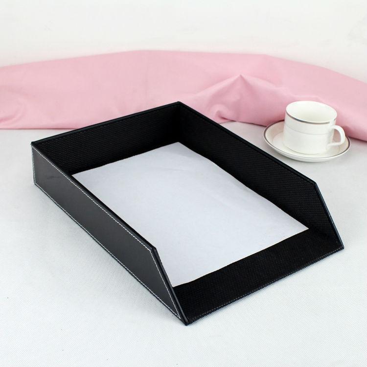 """Здесь можно купить  13.5x10.5"""" leather office desk a4 file document tray container storage box case organizer holder black 225A  Офисные и Школьные принадлежности"""