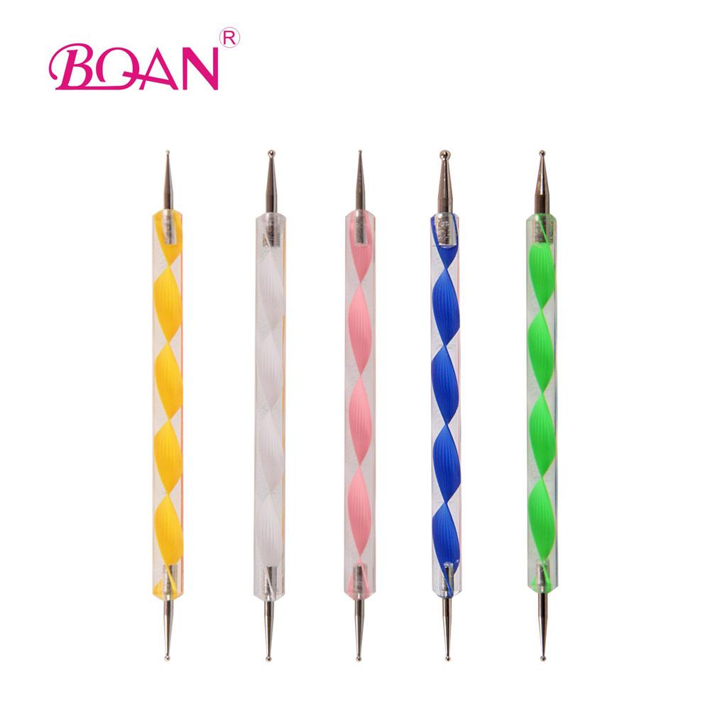 Nail Dotting Pen Set 20 Sets 5 x 2 Ways Nail Art Tool Dot Kit Free Shipping Acrylic Handle Dotter(China (Mainland))