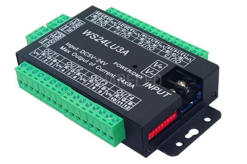 24CH DMX512 Decoder dimmer controller For RGB Strip module Floodlight 12~24V 24A(China (Mainland))