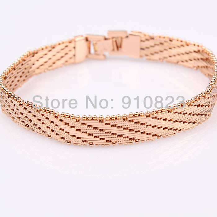 Mens womens 18K Rose Gold Filled GF Bracelet Watch Chain 7.6inch long Link 10mm Wide Jewelry Wrist Chain Bracelet(China (Mainland))